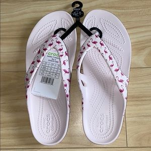 Flamingo croc sandals